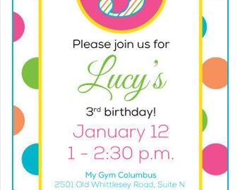 Polka Dot Birthday Invitation