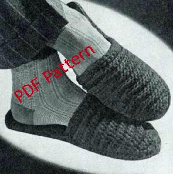 Vintage Mens Crochet Scuff Slipper Pattern