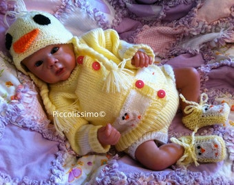 knitting pattern  for a 18inch/small newborn-preemie duck sweater set reborn baby ooak
