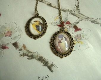 vintage bird pendant necklace