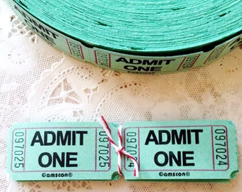 25 Mint Green Admit One Raffle Tickets, Scrapbooking, Paper Goods, Supplies, Mixed Media, Collage, Weddings
