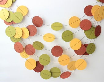 Thanksgiving Garland, Fall Decor, Fall Garland, Dot Garland, Paper Garland, Fall Wedding Decor, Fall Wedding