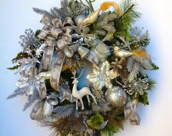 "Sparkling Silver 24"" Christmas Wreath"