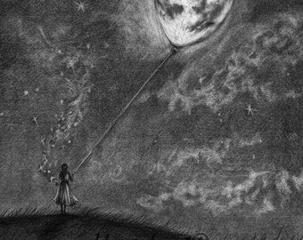 Pencil Drawing Print - Moon On A String - Day 178