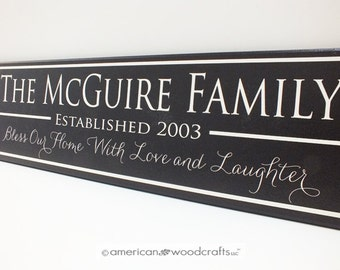 "Personalized Family Name Sign Custom Personalized Family Established Sign 7""x24"" wedding or anniversary sign"