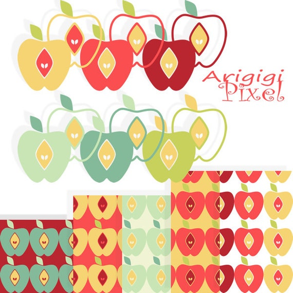 apple clip art set and digital papers, back to school, for teachers and for kids, warm fall colors, royalty free clipart download