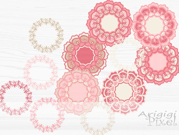 digital clip art set, flower and wreath, pink cream pastel, retro, funky, whimsical, small business use, Photoshop element, download
