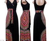 Black Tribal Maxi Dress