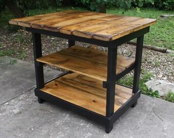 KITCHEN ISLAND BAR Multi Functional Tall Table Burnt Golden Oak & Kettle Black W Center Shelf 36x43x38h Custom Sizes Colors Available