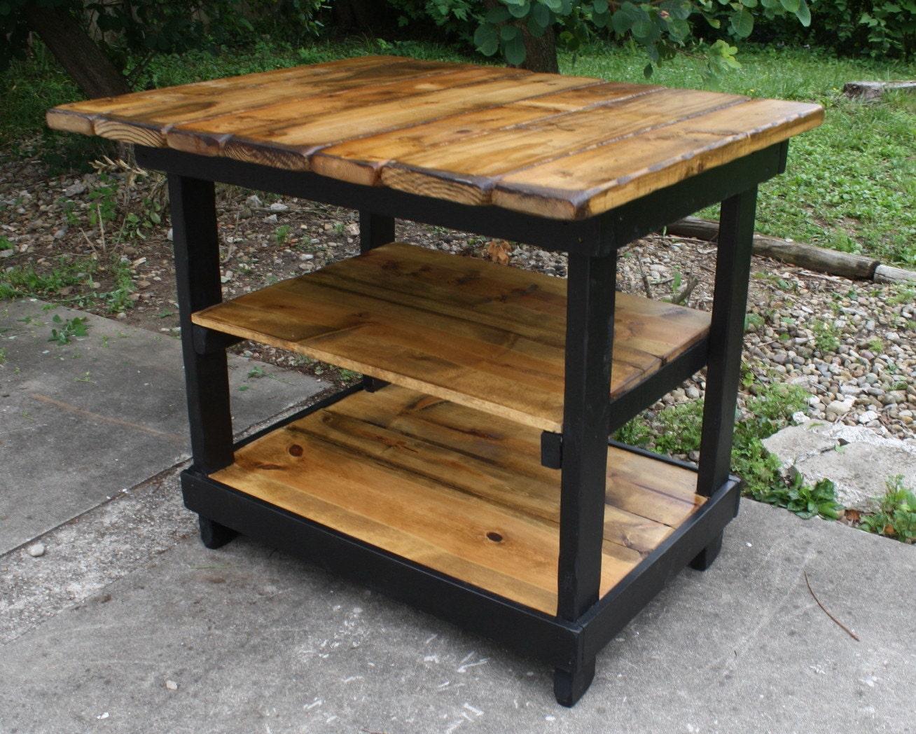 KITCHEN ISLAND BAR Multi Functional Tall Table Burnt Golden