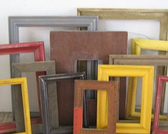 Farmhouse Chic Wall Collage Frame Set,  Large Set of Rustic Picture Frames, Yellow, Grays, and Reds all Distressed