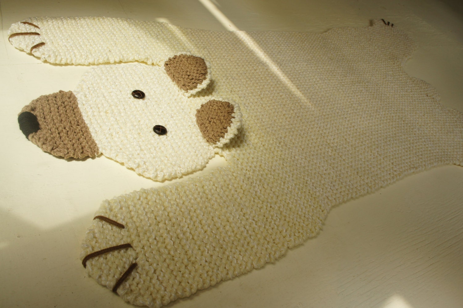 Polar Bear Rug Knitting Pattern : Hand knit foot off white polar bear blanket rug spread