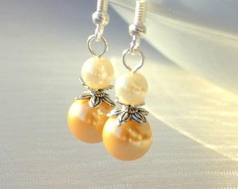 Light Yellow Bridesmaids earrings beaded jewelry Bridesmaids gift Yellow jewelry wedding party earrings Flower girl gift