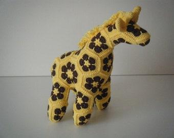 Crochet giraffe made out of African Flowers