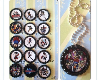 Beyblade Bottle cap necklaces