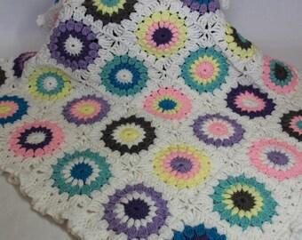 Sunburst Granny Square Crochet Baby Blanket, Baby Girl/Toddler/Child Crochet Blanket - Multi-colored and White - MADE TO ORDER