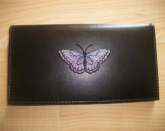 Butterfly  Black Leather Checkbook Cover Free Shipping Butter Fly