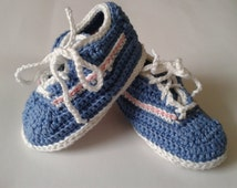 Handmade Baby Sneakers, Trainer Booties, 6-9 months,  Blue with pink & white stripe
