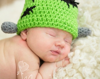 Crochet newborn baby Frankenstein hat photo prop Halloween