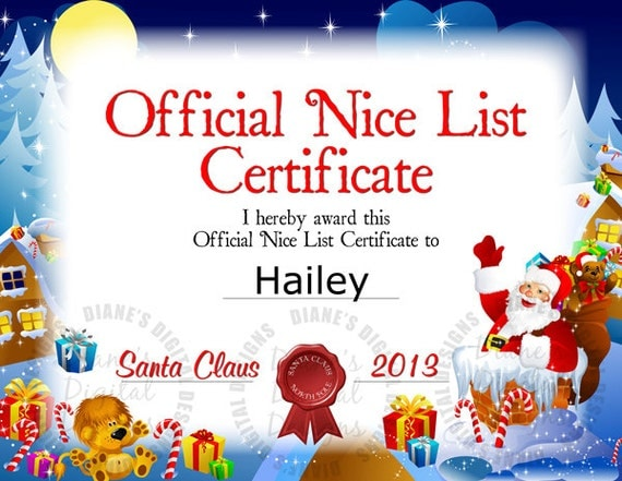 Personalized Nice List Certificate From Santa Claus - Printable ...