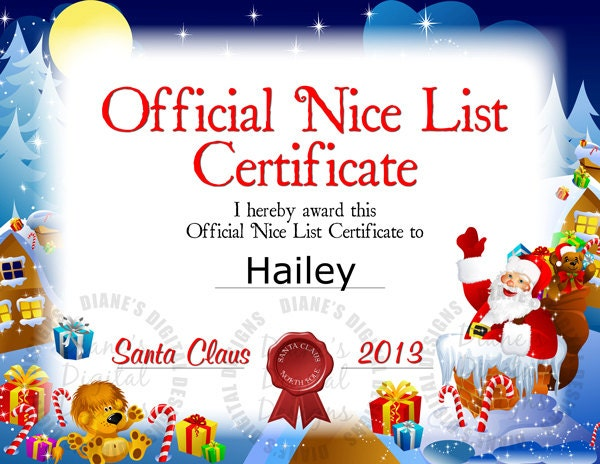 Personalized Nice List Certificate From by DianesDigitalDesigns