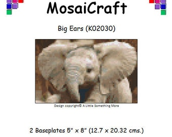 MosaiCraft Pixel Craft Mosaic Art Kit 'Big Ears' Baby Elephant (Like Mini Mosaic and Paint by Numbers)