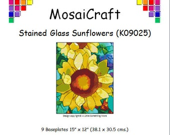 MosaiCraft Pixel Craft Mosaic Art Kit 'Stained Glass Sunflowers' (Like Mini Mosaic and Paint by Numbers)