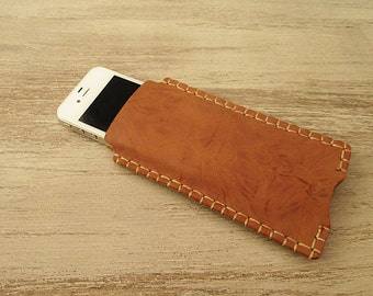 iPhone 5 Sleeve, iPhone 4 case, Leather sleeve for iPhone 5, Leather case, Caramel Brown, Accessories, Hand stitched, Iphone case wallet