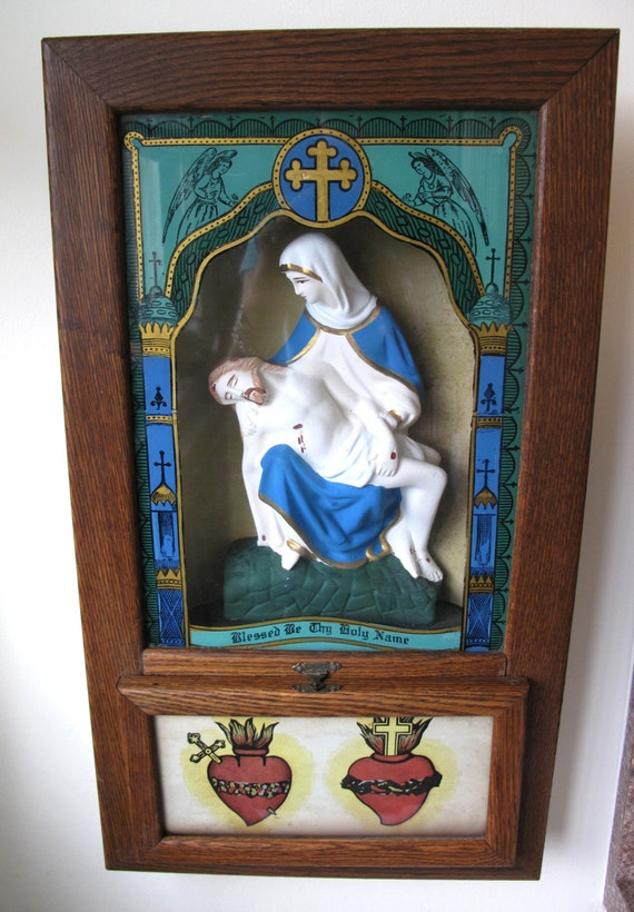 Antique 1900 S Sacred Heart Last Rites Box Catholic
