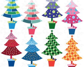 "Christmas ClipArt ""CHRISTMAS CLIP ART""set,Christmas Tree,Colorful Christmas Tree, christmas perfect for Scrapbook,Cards,Invitations Cm024"