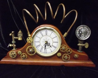 Popular items for mantel clock on etsy - Steampunk mantle clock ...