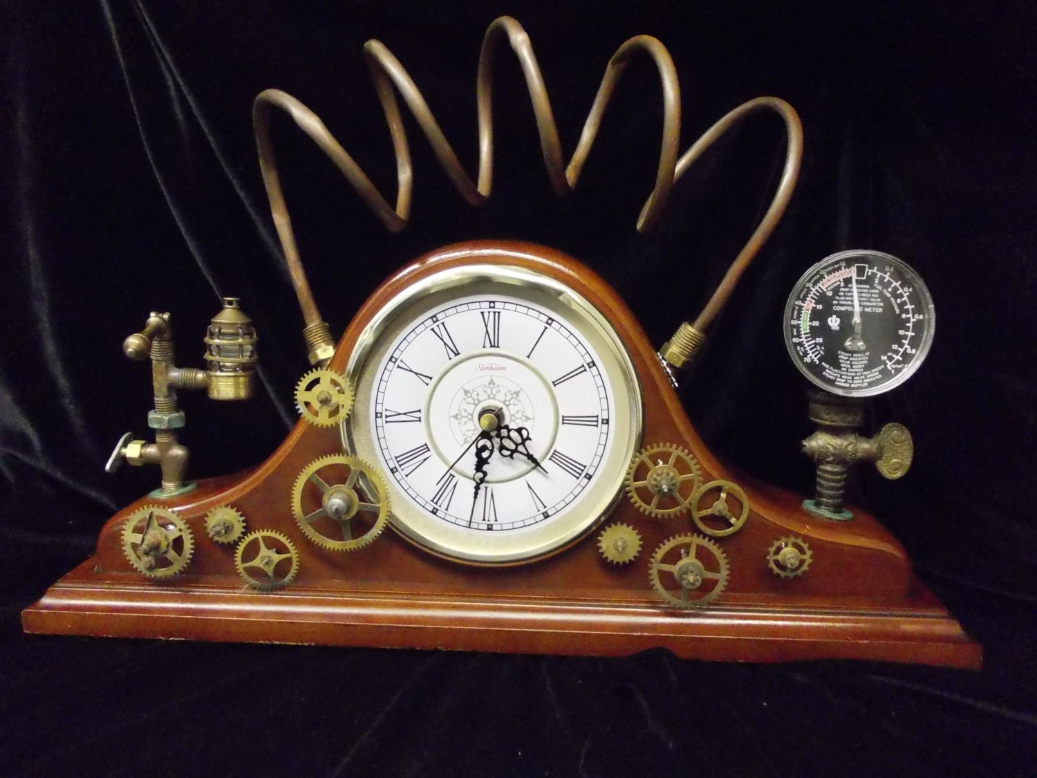 The power of steam steampunk upcycled mantel clock with - Steampunk mantle clock ...