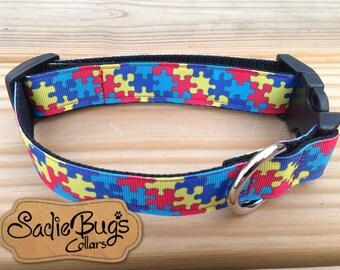 Autism Awareness Puzzle Dog Collar