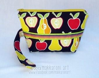 Zippered Wristlet in Fun Apple/Pear Fabric, Yellow Zipper OOAK