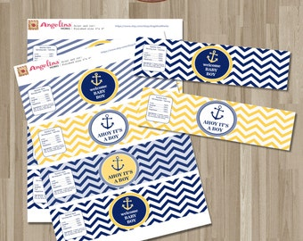 Instant  download Nautical Baby Shower Water bottle lables. Yellow and Blue chevron. Digital Printable