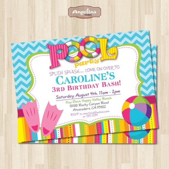 Pool Party Birthday Invitation. DIY Card. Digital Printable