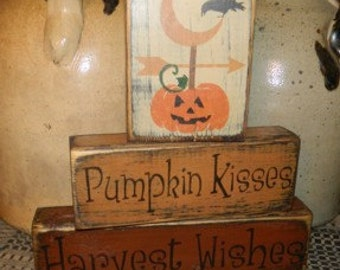 Pumpkin Kisses Harvest Wishes block primitive sign
