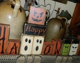 Happy HAlloween pumpkin ghost frankenstein Dracula Primitive Sign