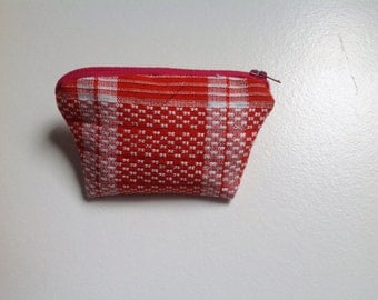 Red and white coin purse