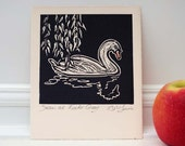 Swan Print, Linocut, Original design, Bird Print, Wildlife