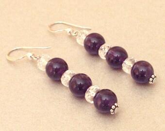 Silver earrings Amethyst rock crystal