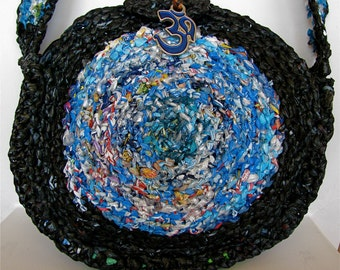 Peace on Earth hand crocheted Recycled plastic shoulder bag,Recycled purse, Recycled Om bag