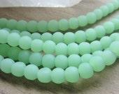 Sea Glass Bead Round 6mm Opaque Seafoam Green 1 Strand