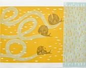 Yellow Snails, Art print,Playful design, Mid century Modern, Nature Picture, Sandy, Silver