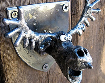 Bottle Opener - Wall Mounted Moose Head made from Recycled Metal