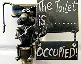 Toilet Wall Sign Handmade Recycled Steel Mouse sitting on Toilet with Changeable Occupied / Unoccupied  plaque