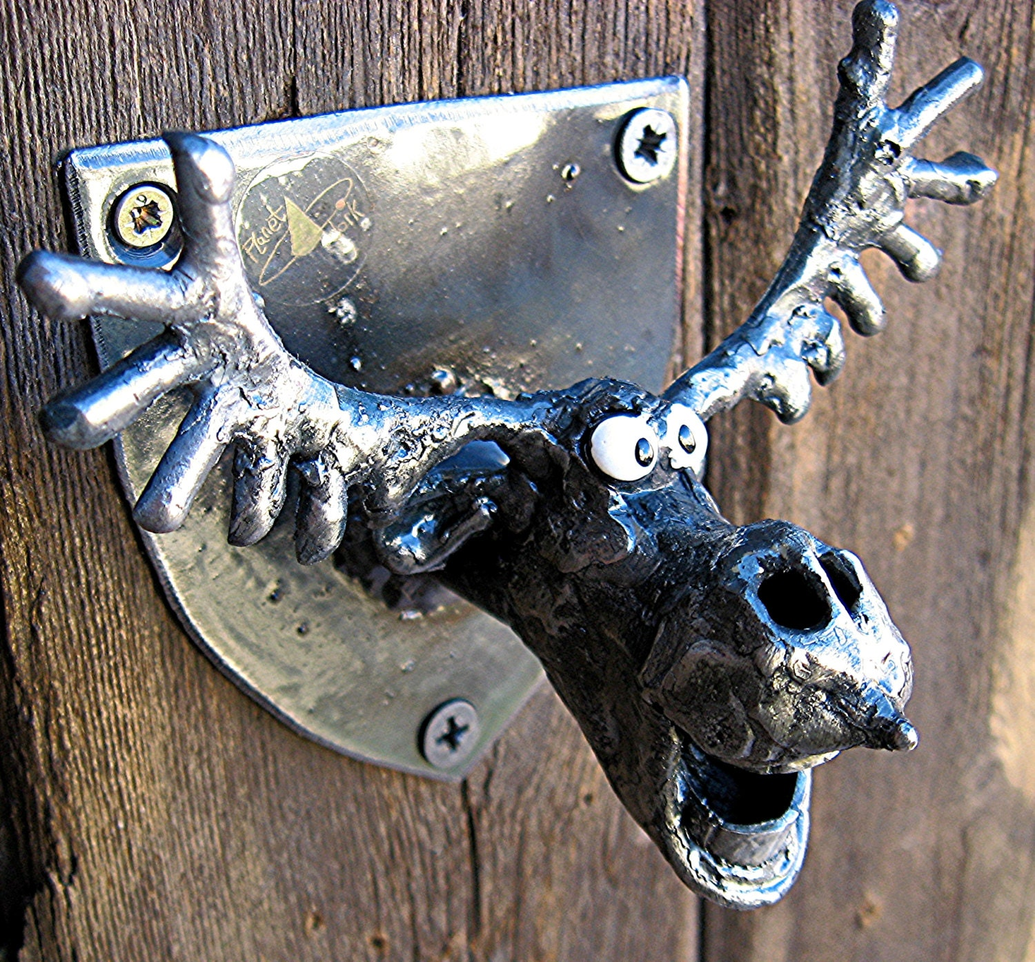 bottle opener wall mounted moose head made from recycled. Black Bedroom Furniture Sets. Home Design Ideas