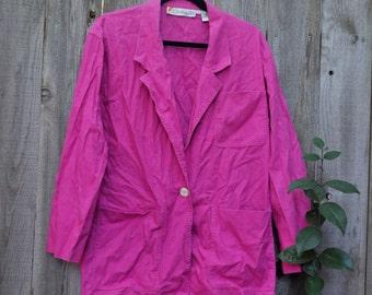 SALE! Vintage Pink Natural Fiber Jacket One Button Closure with 3 Pockets