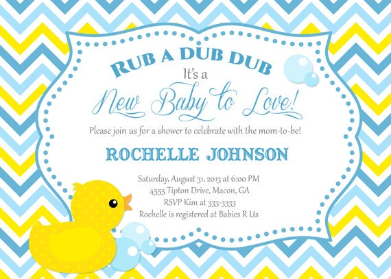 Rubber Duck Baby Shower Invitation, Duck Printable ...