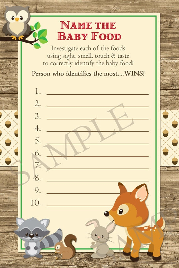 Woodland Animals Forest Name that Baby Food Baby Shower Game ...: https://www.etsy.com/listing/161166924/woodland-animals-forest-name...